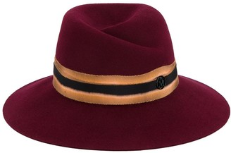 Maison Michel Cherry Red Virginie contrast band fedora hat
