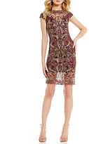 Tadashi Shoji Embroidered Metallic Lace Cap Sleeve Sheath Dress
