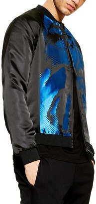 Topman Satin Print Bomber Jacket