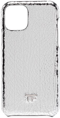 Tom Ford metallic cracked-leather iPhone 11 case