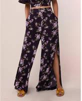 Express high waisted floral side slit wide leg pant