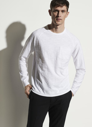 Vince Reverse Slub Long Sleeve Pocket Crew