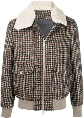 Eleventy Shearling-Collar Houndstooth Jacket