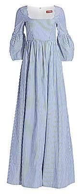 STAUD Women's Plumeria Stripe Bell-Sleeve A-Line Maxi Dress