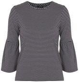 Tall stripe bell sleeve t-shirt