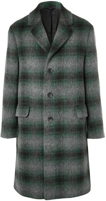 Mr P. Checked Brushed Virgin Wool And Llama Hair-Blend Coat