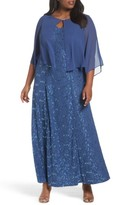 Alex Evenings Plus Size Women's V-Neck Lace Gown With Capelet Overlay