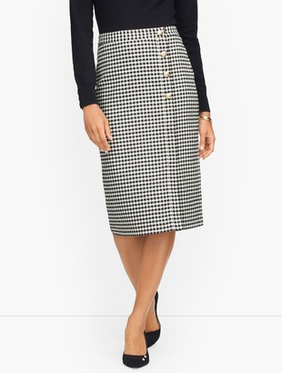 Talbots Houndstooth Wrap Pencil Skirt