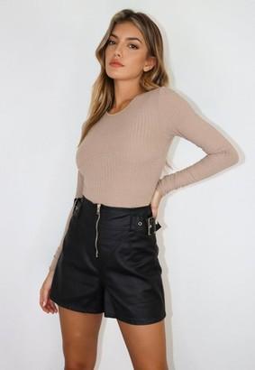 Missguided Black Coated Denim Buckle Shorts