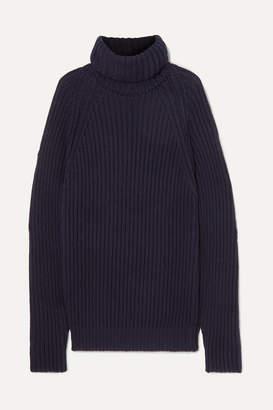 Esteban Cortazar Oversized Open-back Ribbed Cotton Sweater - Navy