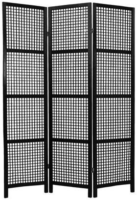 Oriental Furniture 6' Tall Miyagi Shoji Screen, 3 Panel, Black