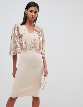 Club L London sequin cape overlay midi dress-Cream