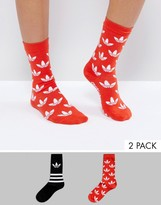 adidas 2 Pack Trefoil Print Socks In Red