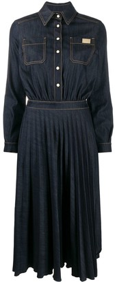 Elisabetta Franchi Denim Pleated Panel Dress