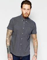 Barbour Shirt With Micro Print Tailored Slim Fit Short Sleeves