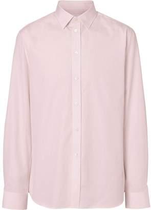 Burberry Slim Fit Micro Check Cotton Poplin Shirt