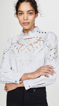 Rebecca Taylor Long Sleeve Leah Embroidery Top