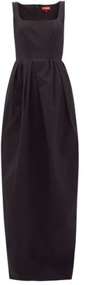 STAUD Square-neck Cotton-blend Faille Maxi Dress - Womens - Black