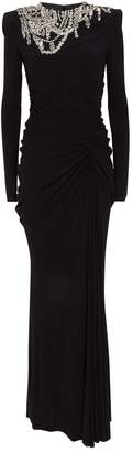 Alexander McQueen Chandelier Draped Long-Sleeve Gown