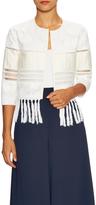 Jonathan Simkhai Flower Tower Cotton Fringe Trim Jacket