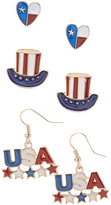 Carole Heart Hat & 'USA' Earring Set