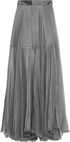 Amanda Wakeley Metallic silk-chiffon maxi skirt