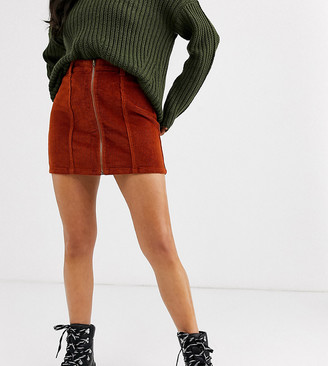 N.Y.L.A. Only Petite corduroy zip front a line skirt
