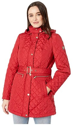 Vince Camuto Quilted Belted Trench V19703 (Carmine Red) Women's Coat