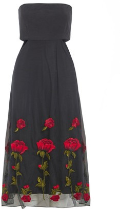 Sarvin Gwyneth Black Embroidered Cut Out Dress