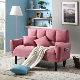 Corrigan Studio Modern Round Arm Tufted Sleeper Sofa With Solid Wood Legs,blue Fabric: Pink