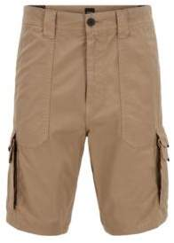 BOSS Tapered-fit shorts in cotton poplin with double pockets