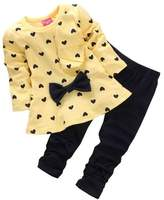 Jeleuon Kids Girls Heart Bowknot Long Sleeve Top and Legging Set 2 Pcs