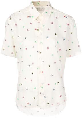 Saint Laurent Star-Print Short-Sleeve Shirt