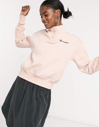 Champion cropped high neck fleece in pink