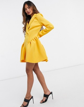ASOS DESIGN mini tuxedo dress with ruched side peplum in mustard