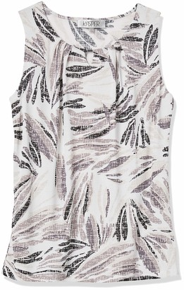 Kasper Women's Sleeveless Abstract Leaf Print BAR Trim Pleat Neck CAMI