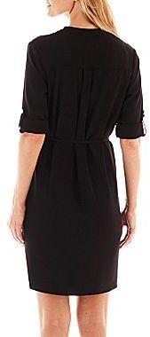 Liz Claiborne 3/4-Sleeve Belted Shirtdress