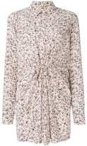 Saint Laurent ruched floral shirt dress