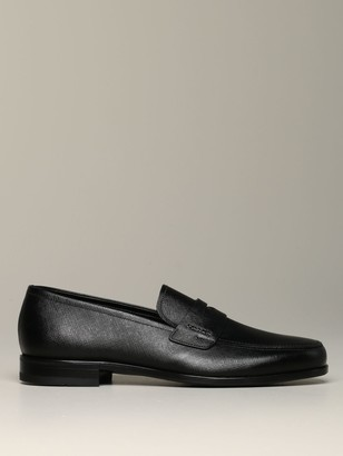 Prada Moccasin In Saffiano Leather With Metallic Logo
