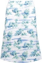 Fresh Produce Women's Casual Skirts WHT - White & Blue Floral Chasing Tropics Midi Skirt - Women