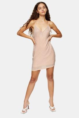 Topshop Womens Pastel Pink Beaded Mini Slip Dress - Pink