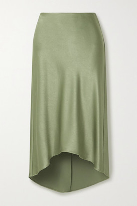 Alice + Olivia Maeve Asymmetric Hammered-satin Midi Skirt - Gray green
