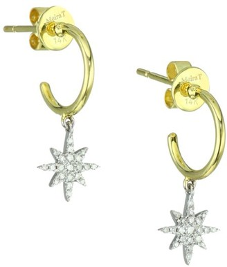 Meira T 14K Yellow Gold & Diamond Starburst Charm Huggie Hoop Earrings