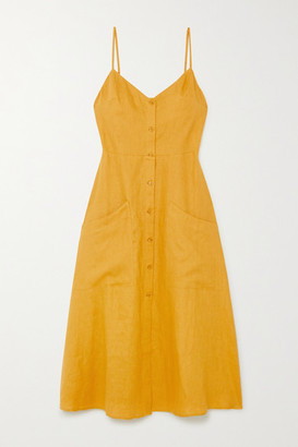 Reformation Net Sustain Parke Linen Midi Dress - Yellow