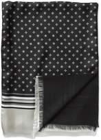 Charles Tyrwhitt Black Printed Geometric Silk Scarf