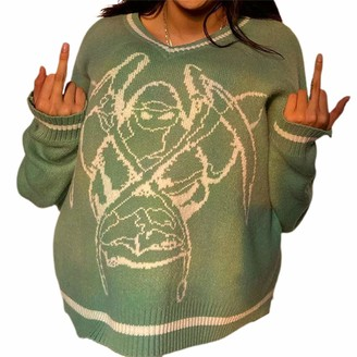 YCYU Women 's Fashion Long Sleeve V Neck Knitted Sweater Funny Print Casual Loose Pullover Jumper Tops (Green M)
