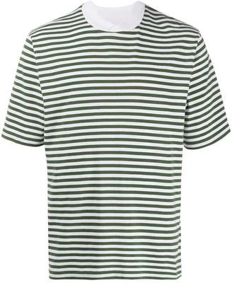 Barbour collar-detail stripe-print T-shirt
