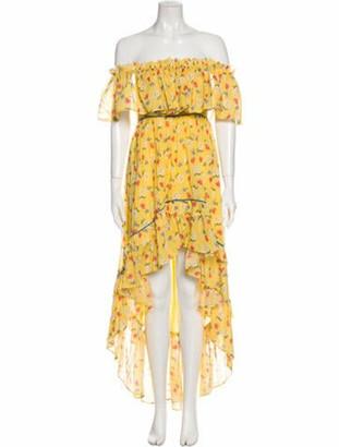 LoveShackFancy Floral Print Long Dress w/ Tags Yellow