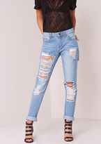 Missy Empire Aggy Extreme Rip Vintage Wash Mid Rise Jeans