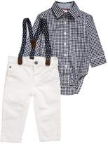 Carter's BOY HOLIDAY BABY SET Straight leg jeans ivory